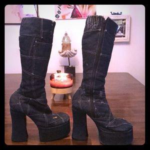 Shoes - Omg denim Platform BOOTS!